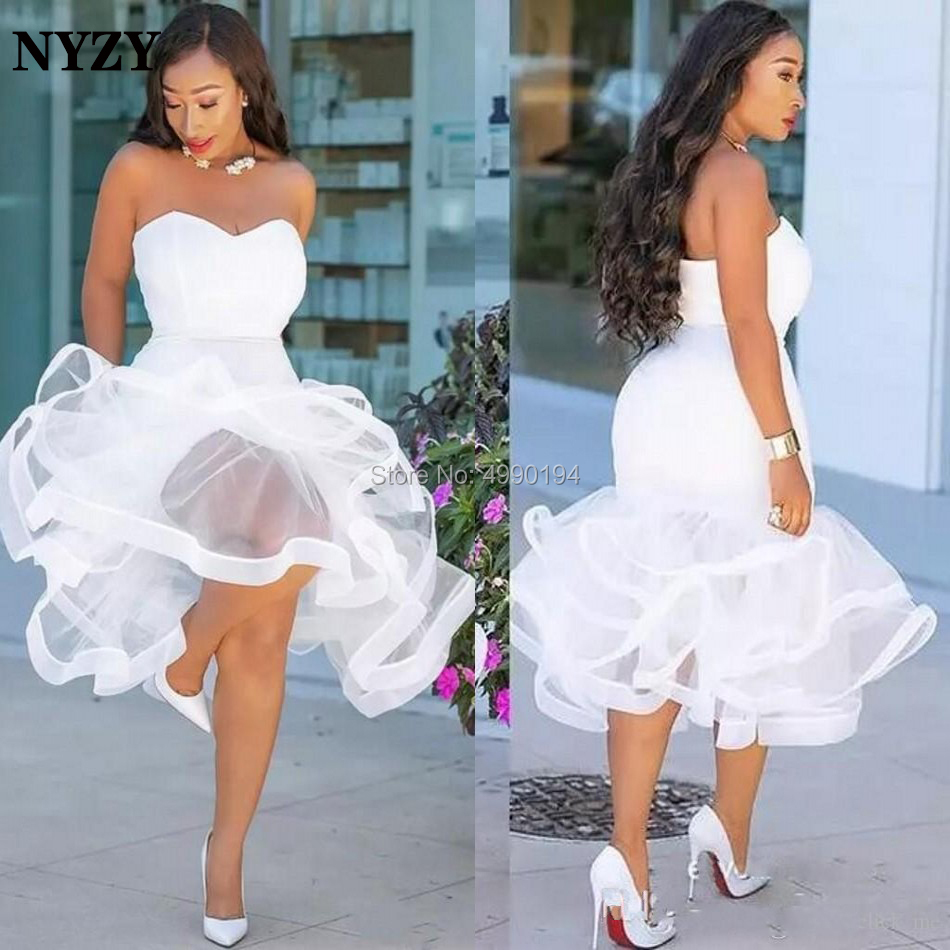 NYZY C141 Africa White Cocktail Dresses Ruffles Mermaid Robe Soiree Dubai Short Fromal Dress Party 2019