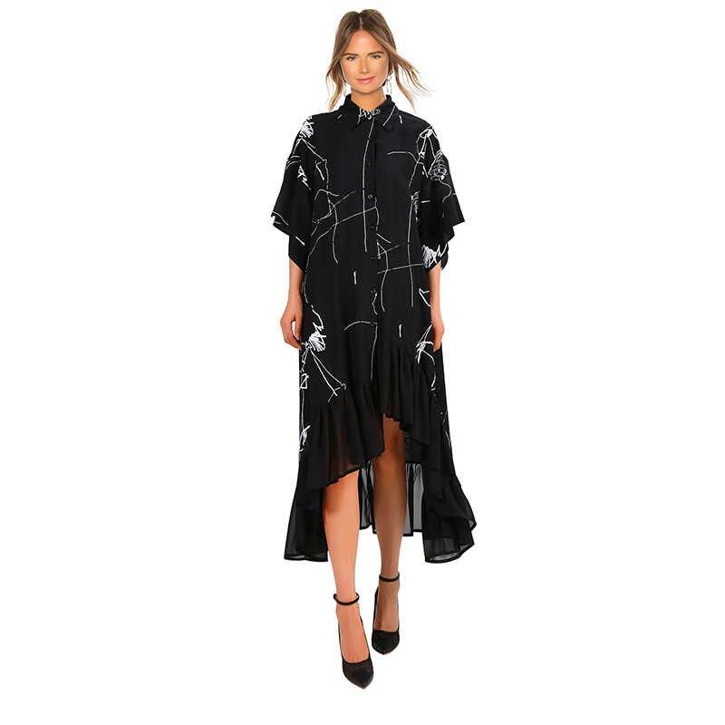 2019 женское летнее платье размера плюс, длинное черное Ретро Повседневное платье-рубашка с рюшами и неровными полосками, женские вечерние Клубные платья 3751