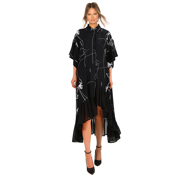 VeryYu 2020 Women Summer Plus Size Long Black Retro Casual Dress Fashion  VeryYu the Best Online Store for Women Beauty and Wellness Products
