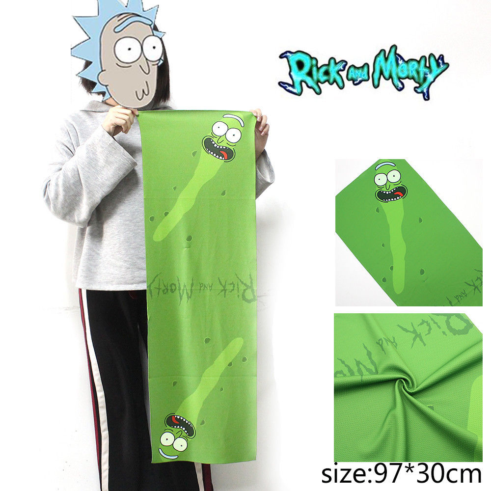 OHCOMICS 97*30CM Hot Anime Rick and Mori Pickle Rick Gym Towel Swimming Soft Soothing Cotton Face Sports Towel