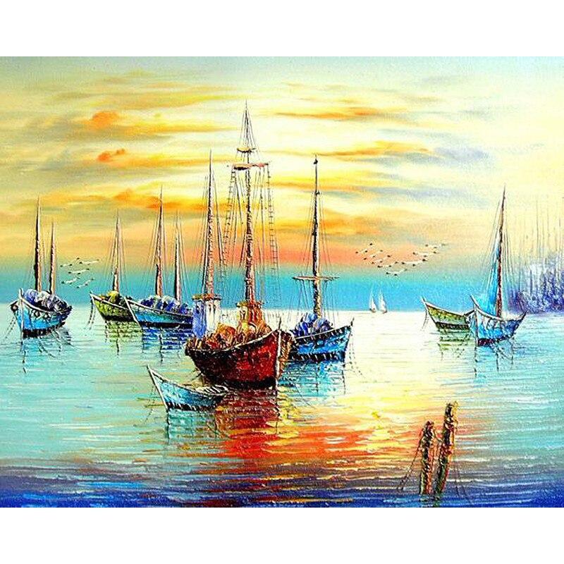 Frameless sunset boat diy pittura by numbers seascape moderna parete arte Dipinta A Mano della Pittura A Olio Su Tela Per Soggiorno Decor