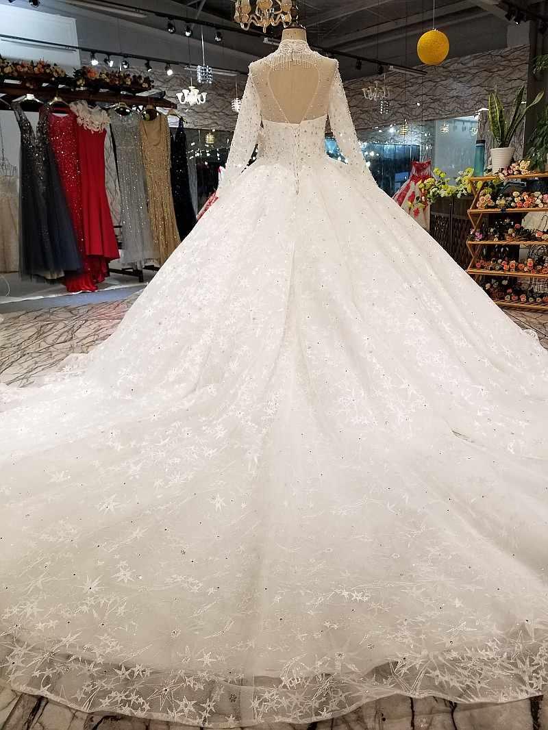 LS78000 свадебное платье с рукавамиРоскошные Дубай Большие размеры торжественное платье Длинные see-через рукав бальный наряд высокого качества свадебное платье с длинным вуаль Быстрая доставка