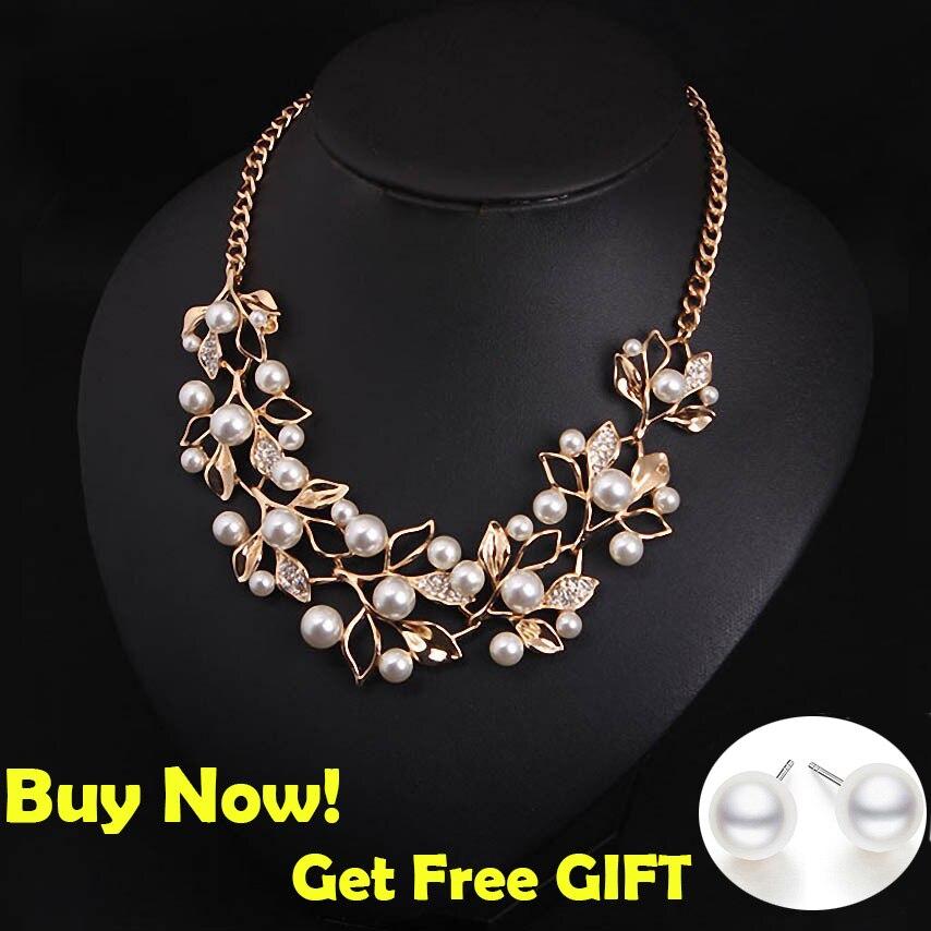 Simulado pérola colares e pingentes banhado a ouro folhas declaração colar de mulheres Collares jóias étnicas para presentes personalizados