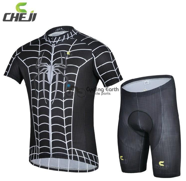 2014 Pro HQ! Summer Spider man black short sleeve cycling jersey shorts set bicycle clothes jerseys pants+gel pad,Quick-dry!