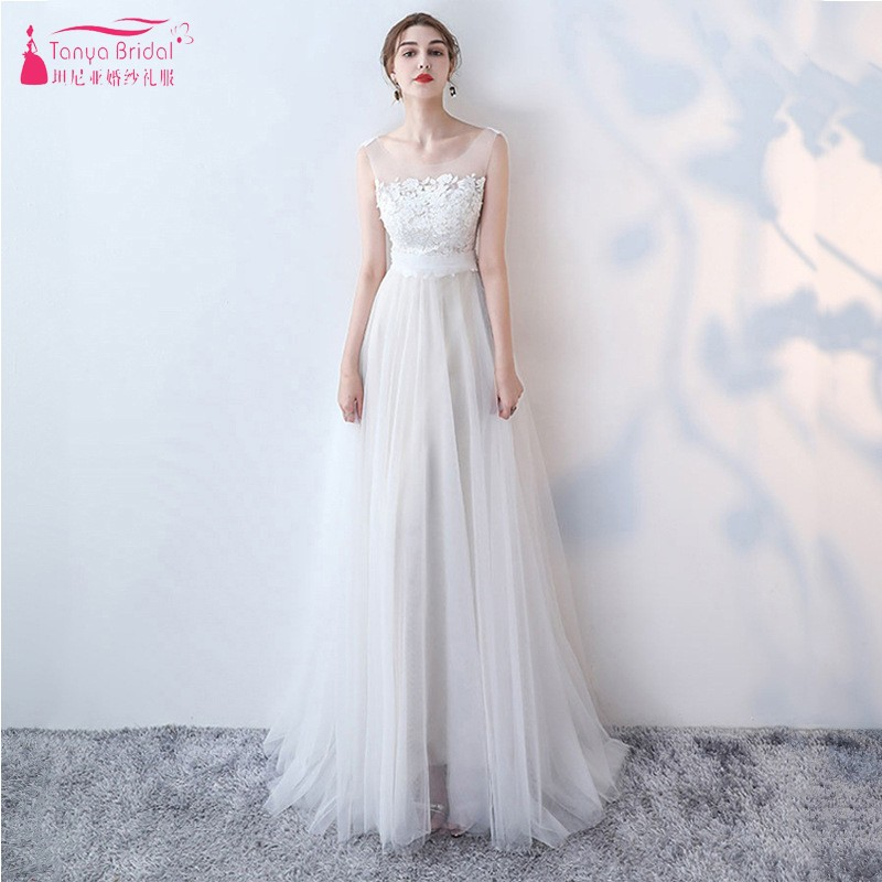 TANYA BRIDAL A Line White Tulle Lace   Prom     Dresses   Sexy Illusion Neck Formal Lady   Prom     Dress   Cheap Elegant   dress   DQG837