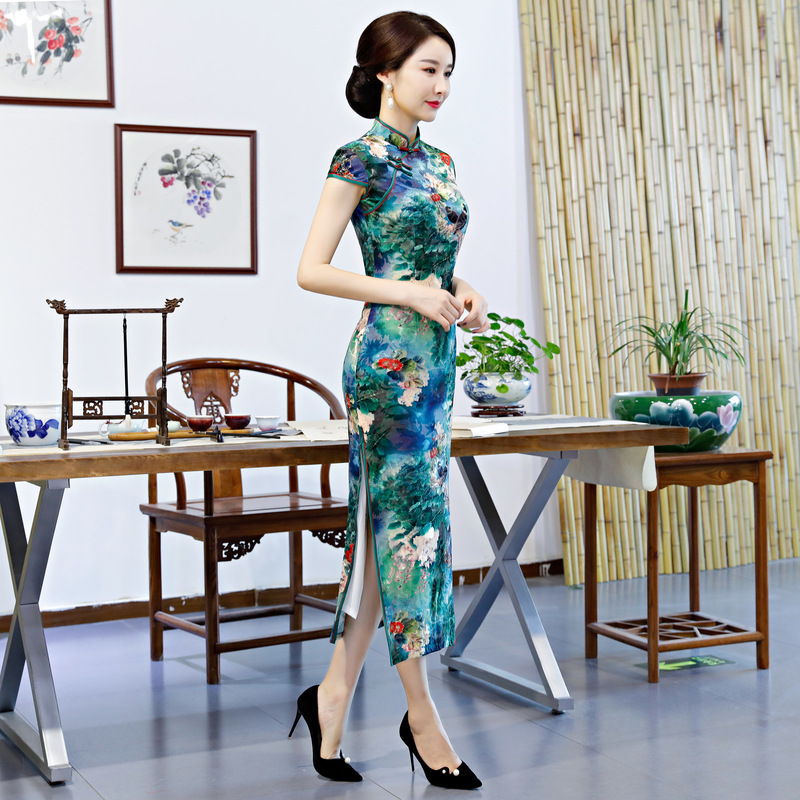 Mince style Qipao Bouton Femmes À S 2018 Partie Robes 3xl Velours 2 Long style Mode Style style De 3 4 Cru Cheongsam Printemps Robe Chinois 1 sdCQthr