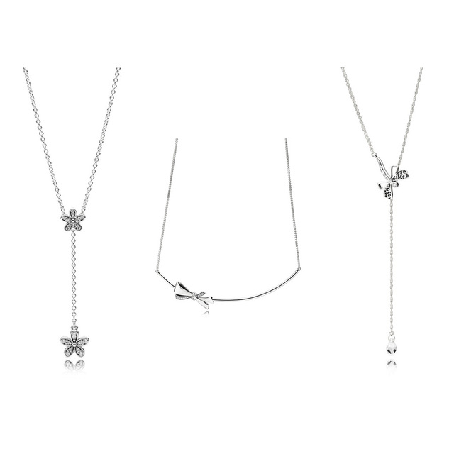 3 Style Authentic 925 Sterling Silver Necklaces Flower Bow Tear Long Pendant Necklace for Women Party Wedding Jewelry