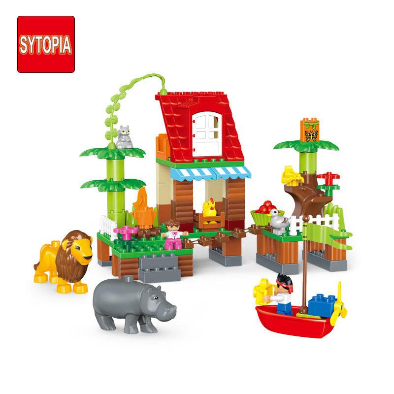 Sytopia Jungle House Explore Children Building Blocks Big Size Educational Toy For Baby Kid Gift Toy Compatible With Duploe sytopia fire station fire police children building blocks big size educational toy for baby kid gift toy compatible with duploe