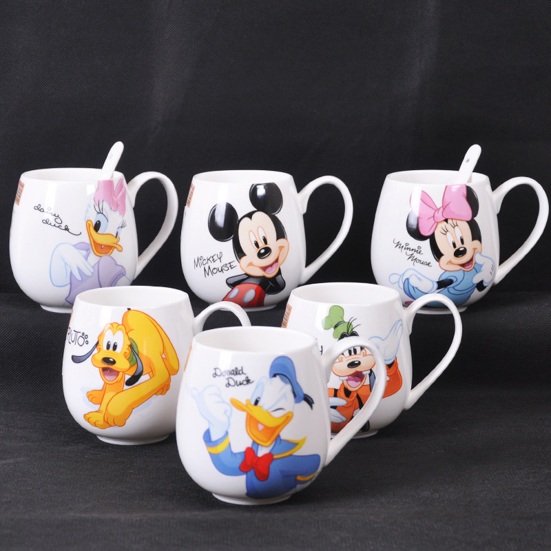 Set Link 300ML-400ML Children Water Mug Cup Cartoon Drink Water Cups Boys Girls Home Mugs Mickey And Minnie Mouse Ceramic Cup