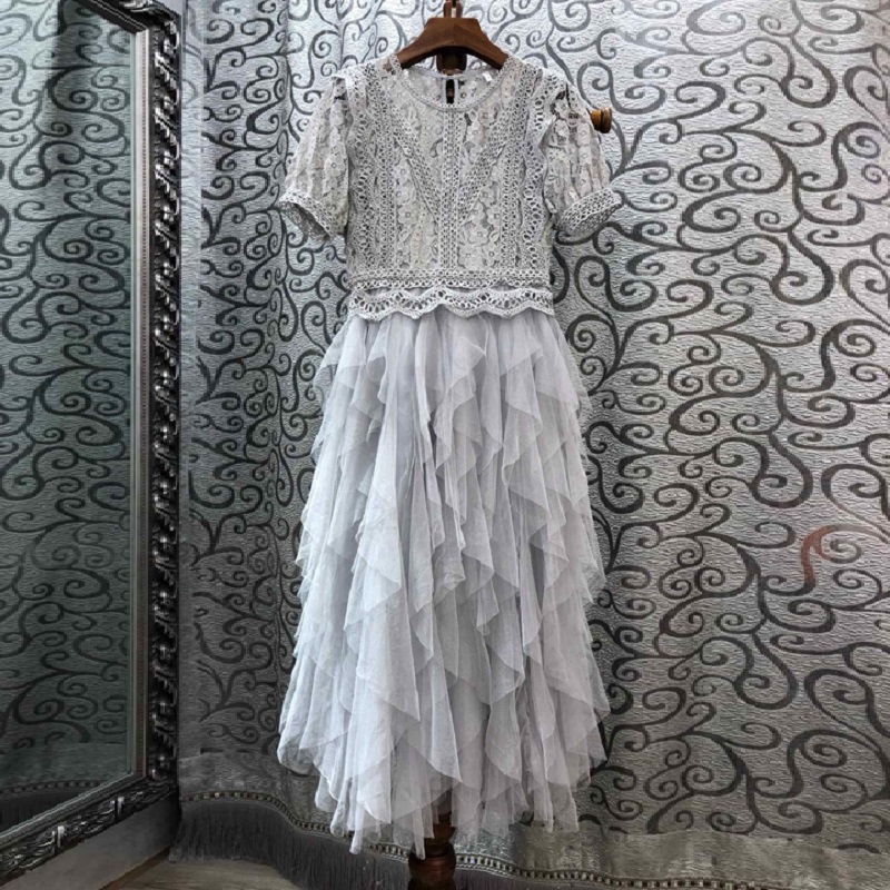 One Piece Dress 2020 Summer Fashion Party Club Dresses Women Tulle Mesh Lace Patchwork Short Sleeve Midi Grey Pink Dress Sexy