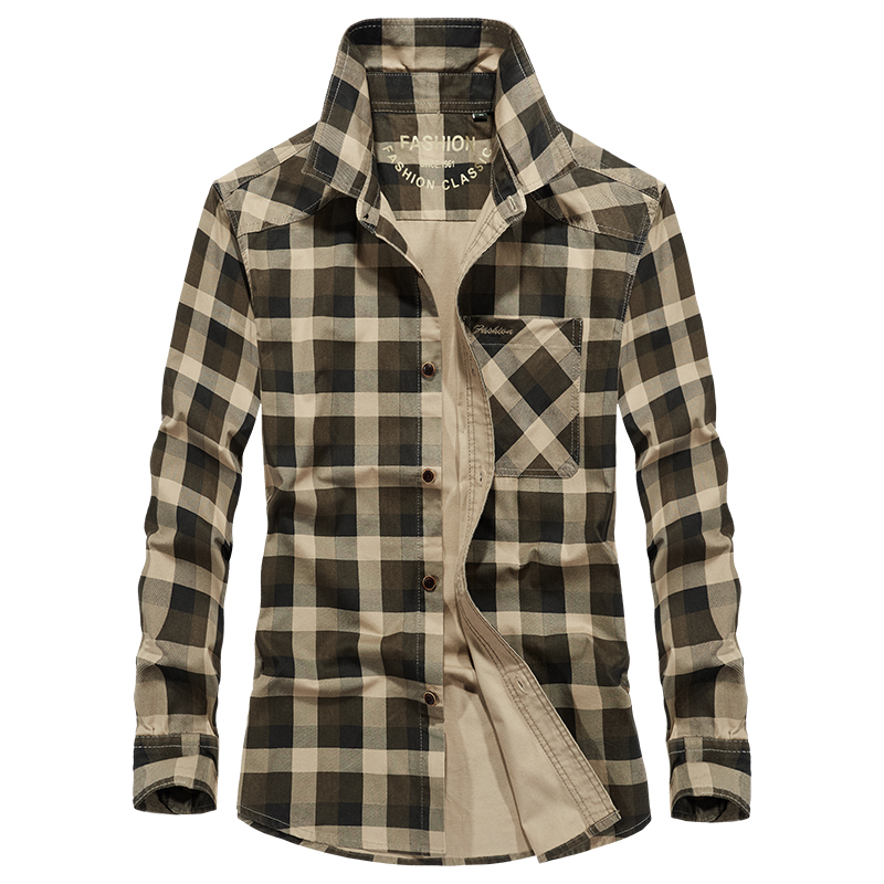 Plaid Shirt Long-Sleeve Army-Style Afs Jeep Men's Cotton Autumn Brand Military Camisa title=