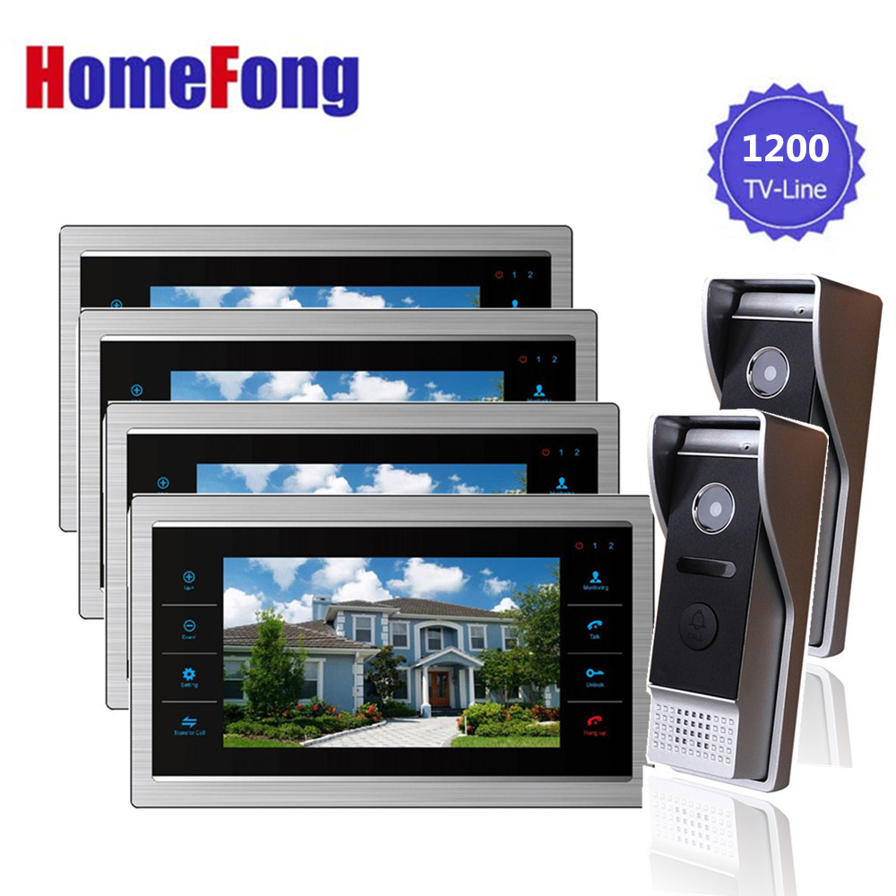 Homefong LCD Video Door Phone Intercom Video Doorbell Record with Camera 2-way Talk 1200TVL HD Night Vision Rainproof Wholesale homefong security 4 tft lcd screen night vision video door phone intercom doorbell kit hd 800tvl 2 indoor unit 2 outdoor unit