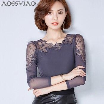 aaf6a1e148a Сорочка женская плюс размер кружевная блузка шифоновая рубашка женские топы  с длинным рукавом Женские блузки blusas camisas femininas 2019 ropa mujer