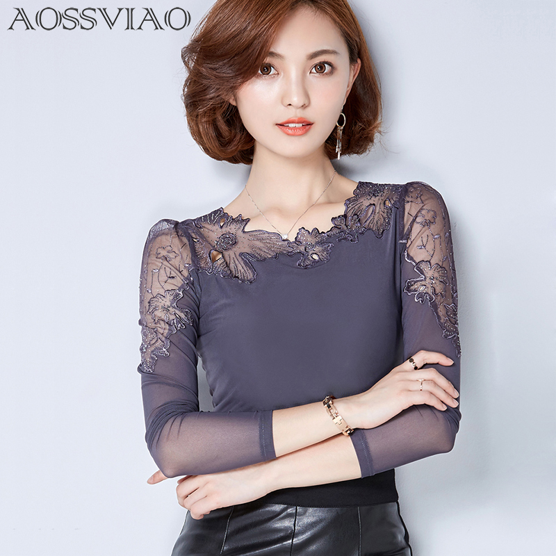 chemise femme 플러스 사이즈 레이스 블라우스 쉬폰 셔츠 여성상의 긴 소매 여성 블라우스 blusas camisas femininas 2018 ropa mujer