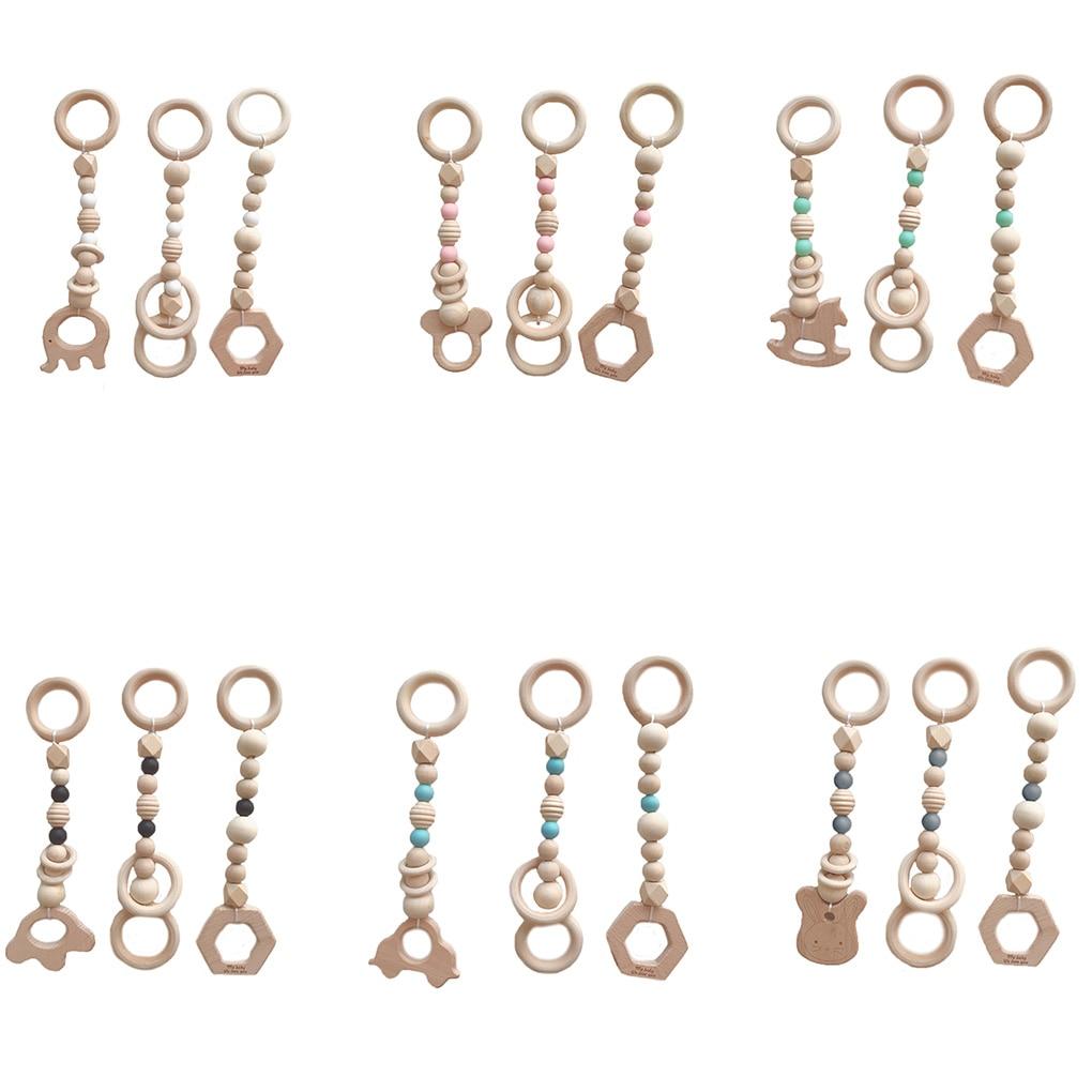 New 3PCS/Set Baby Play Gym Silicone Beads Wood Teether Toddler Hanger Rattle Wood Ring Teething Toys Newborn Baby Pram Toy
