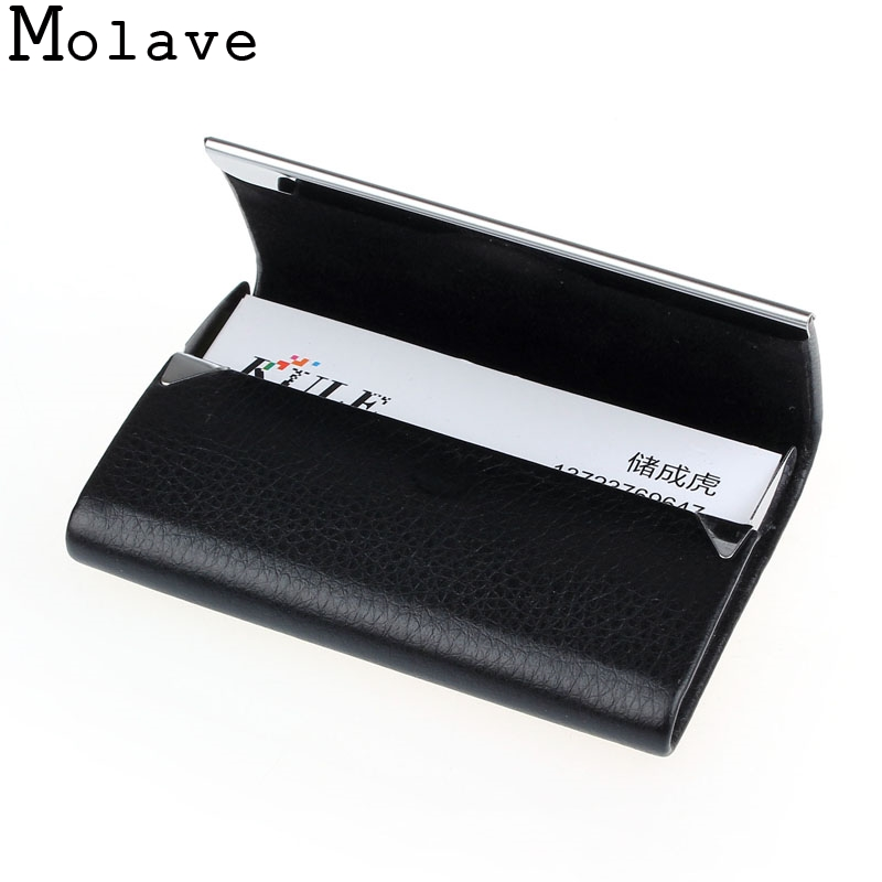 2017 New Arrival Fashion Pu Leather Metal Men Business Credit Card Holder Women Bank Card Case Card Box Wallet 20Apr20 new fashion pu leather credit card