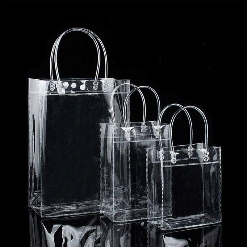 1Pc Women PVC Transparent Tote Bag Make Up Cosmetic Bags Case Handbag Shoulder Travel Toiletry Bag Organizer Storage Gift Bags
