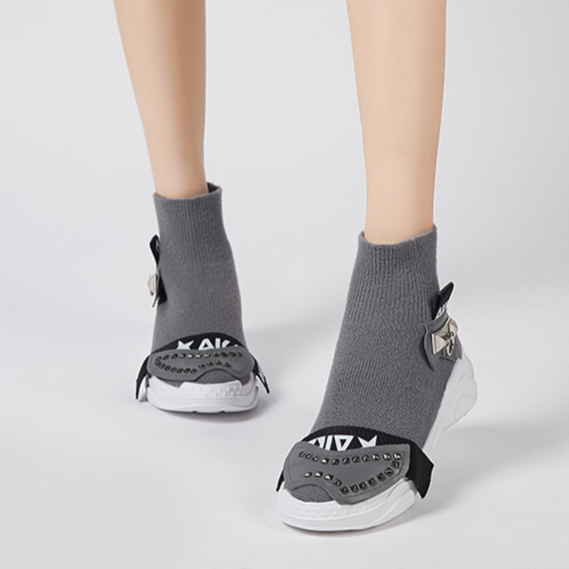 Sneakers Chaussettes gris Ugi Femmes Plate Plates En Sapatos Noir Cuir Femme Creepers forme Stretch Mulher Chaussures Véritable qPEfrnE