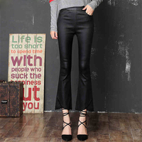 Women Faux Leather Pants Slim Fit Fashion Flare Trousers For Women Spring Autumn Pu Leather Pants