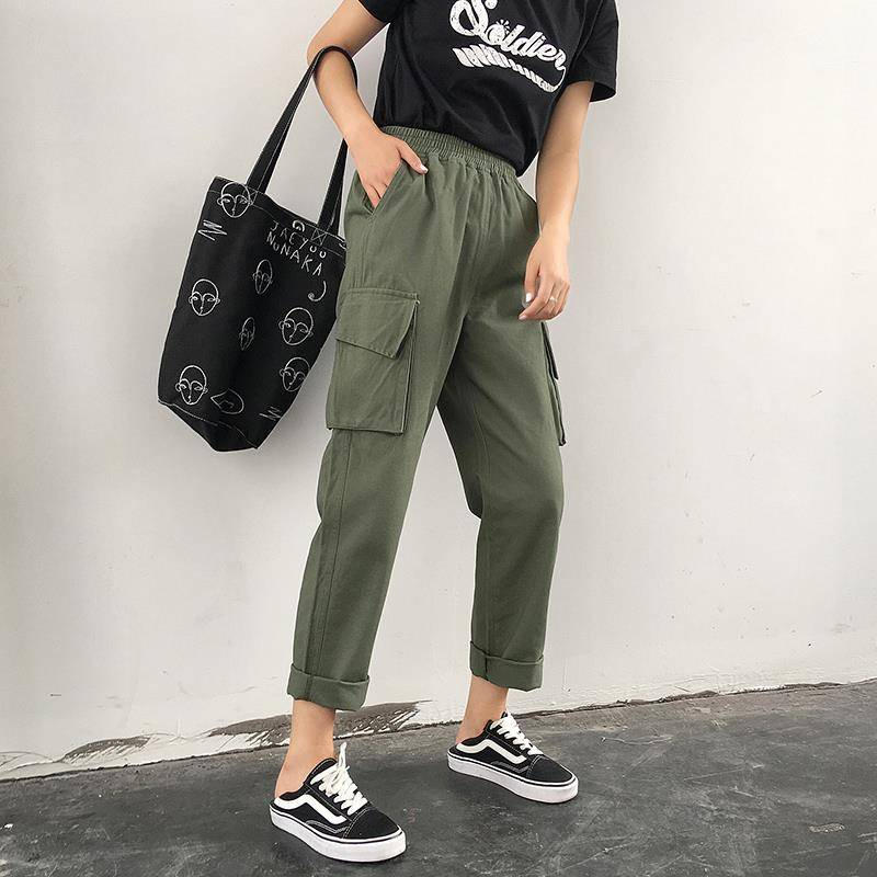 High Waist   Pants   Camouflage Loose Joggers Women Military Army Harem Camo   Pants   Streetwear Black Cargo   Pants     Capris   Trousers
