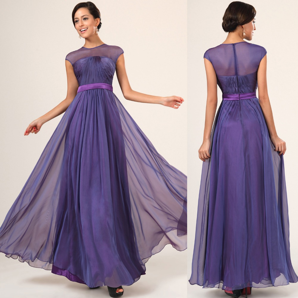 Lt0416 Deep Purple Chiffon Two Tone Maxi Slim Waist Long Bridesmaid Dresses With Short Sleeves In From Weddings Events On