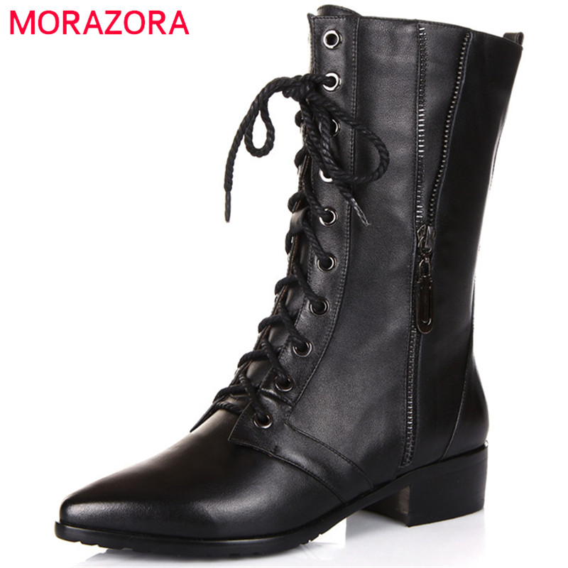 MORAZORA Hot sale 2018 ankle boots for women genuine leather boots fashion punk motorcycle boots lace-up black