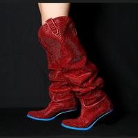 Красного цвета женские ботинки блеск кристаллов Украшенные ботинки до середины икры Обувь на среднем каблуке Полусапожки бренд супер звез