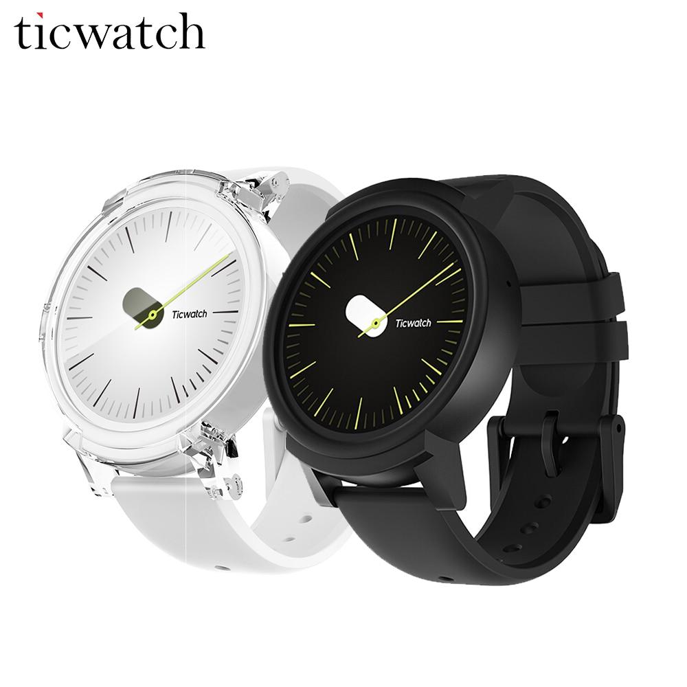 D'origine Ticwatch E Montre Smart Watch Android Porter 2.0 MT2601 Dual Core GPS Smartwatch IP67 Résistant À L'eau avec Mic/Haut-Parleur de silicium
