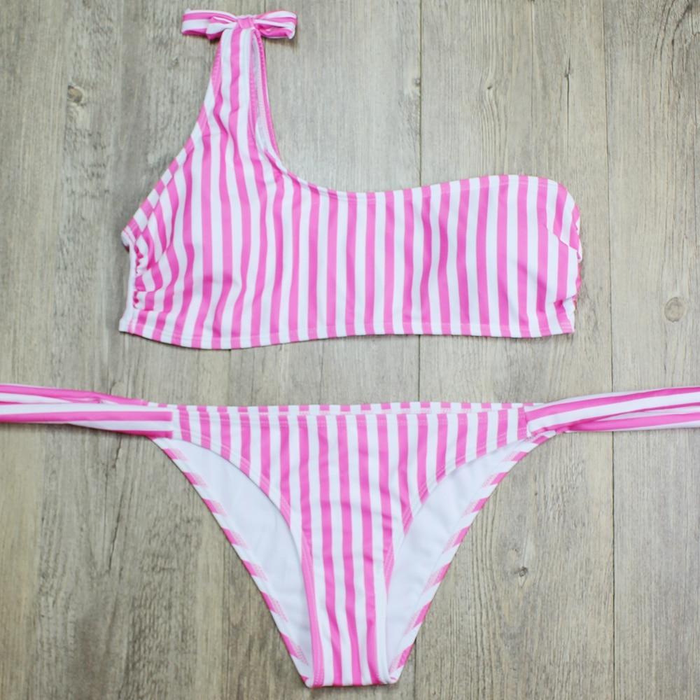 HTB1nJ09hSCWBuNjy0Fhq6z6EVXa0 P&j 2018 Sexy One Shoulder Bikini two pieces swimsuit female Swimwear Women Bikini Set Bathing Suit swim biquini