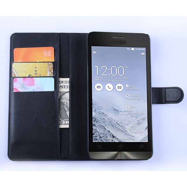 For ASUS ZenFone 6 A600CG Case T00G Wallet Card Stent Cases Lichee Pattern Flip Leather Protect Cover black 600 ASUS6 ASUS600