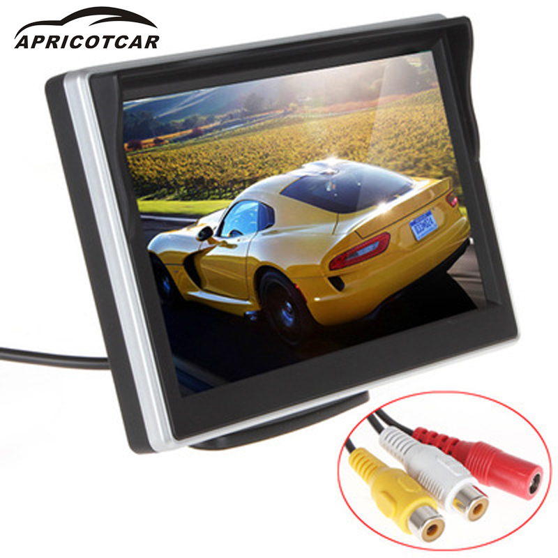 APRICOTCAR New 5-inch AV Display High-definition Digital LCD Car Monitor Reversing Automatic Switching Two Video Inputs 480*272