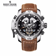 Фотография Reef Tiger/RT Sprot Watch with Perpetual Calendar Date Day Steel Case Brown Leather Strap Mechanical Men