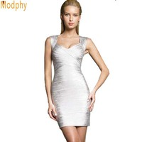 Women Gold Silver Foil Print HL Bandage Dress New Fashion Sexy Slim Backless Lady Tank V