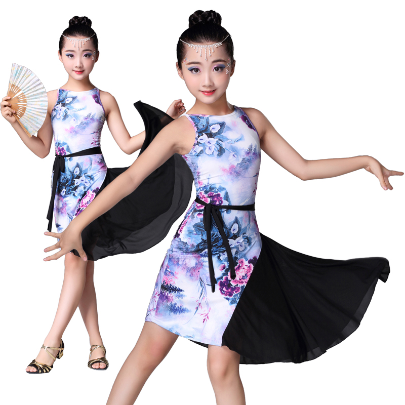 New Style Girl Latin Dress Printed Skirt Dance Performance Costume Children Latin Skirt Professional Competition Practice Dress