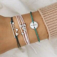 Charming 3Pcs/set Bracelet Sets Compass Beads Bohemian Multi-layer Rope Chain Silver Hollow Mountain Set
