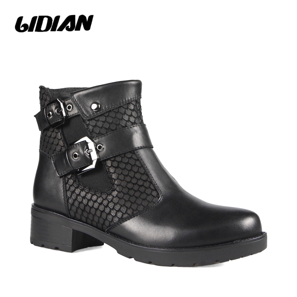 LIDIAN Midcalf leather boots Buckle Strap Ankle Winter Boots 2cm platforms Black Classical Shoes Russian Size B56LIDIAN Midcalf leather boots Buckle Strap Ankle Winter Boots 2cm platforms Black Classical Shoes Russian Size B56