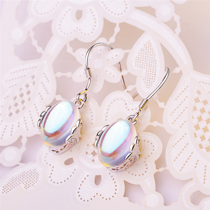 TJP New Fashion Moon Stone Female Drop Earrings Wome Jewelry Top Quality 925 Sterling Silver Earrings For Girl Lady Party Bijou