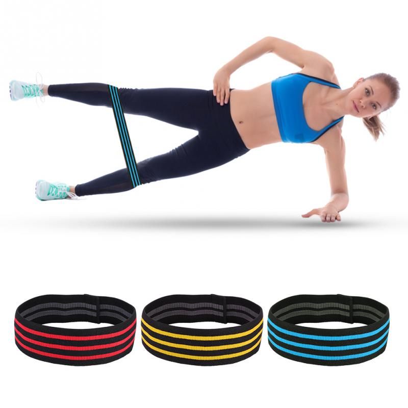 3 Colors Fitness Resistance Bands Nylon Yoga Workout Hips