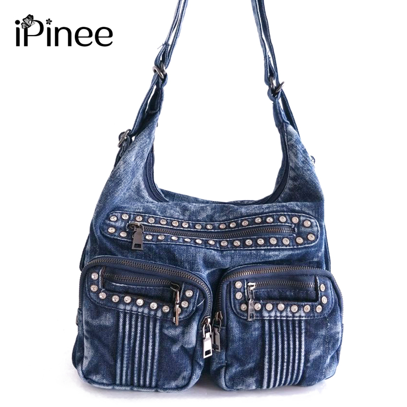 iPinee Fashion Denim Jean Bags Female Multiple Pockets Shoulder Bags Diamante Women Bags Bolsas