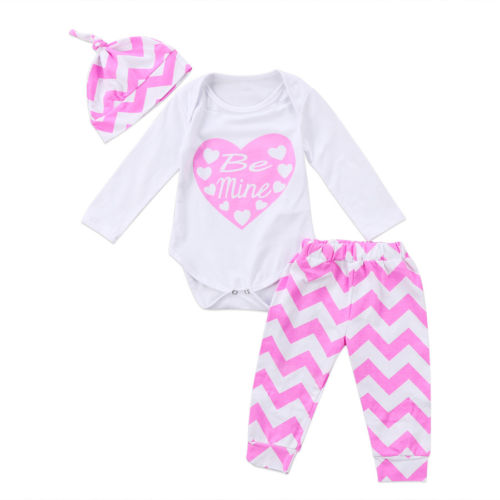 3PCS Toddler Infant Baby Girls Heart Romper+ Pants Leggings + Hat Clothes Outfit Set 0-24M
