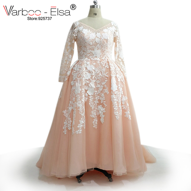 VARBOO ELSA Custom Made Plus Size Evening Dress 2018 Pink Tulle Long Sleeve  Prom Dress Muslim Formal 6cd74e2114d8