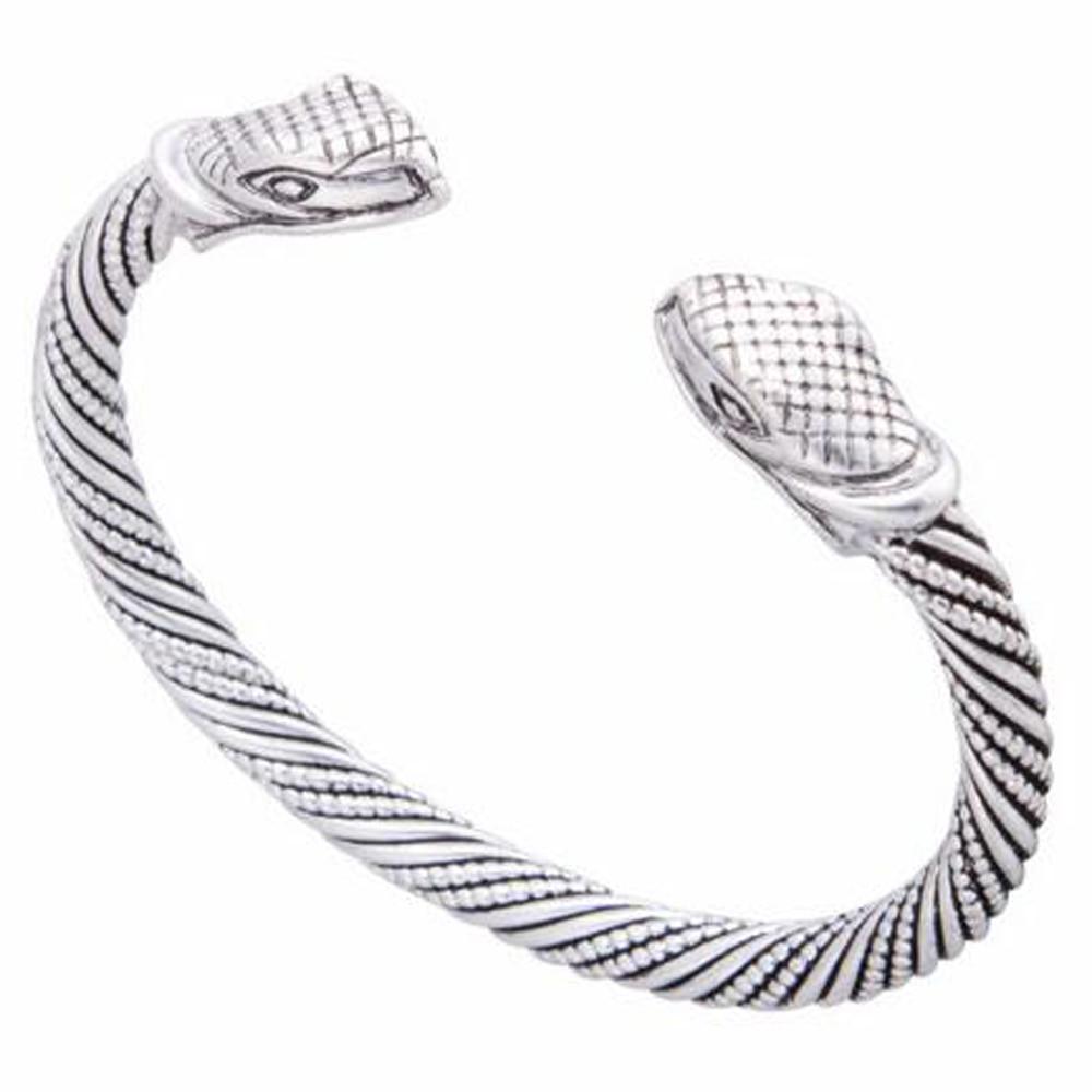Wristband Cuff Bangle with Snake heads Viking bracelet
