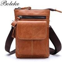 Brand Men Oil Waxing Genuine Leather Fanny Waist Bag Pack Male Belt Loop Hip Bum Bag