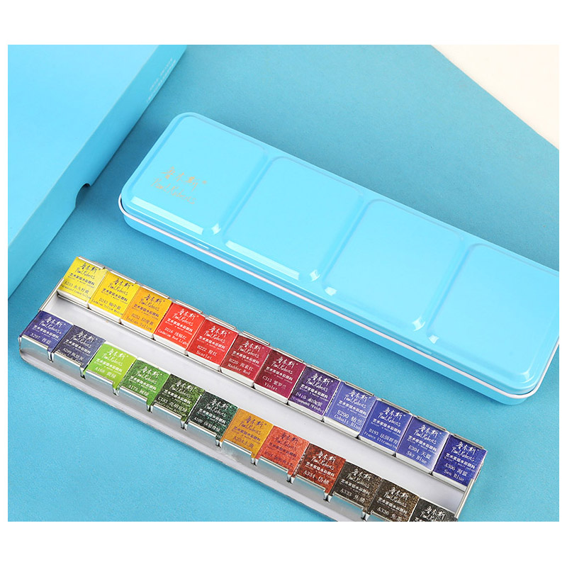 Rubens Solid Watercolor 24 Color Pigments Chinese Watercolor Watercolor Beginner Paint Set Portable Tin Box Art Supplies in Water Color from Office School Supplies