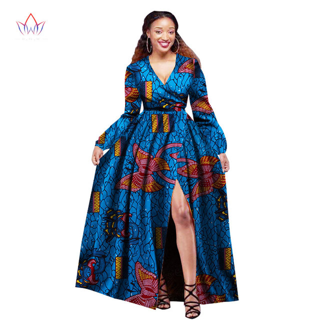 7459c83152e African Dresses for Women Long Sleeve Slip Party Dresses Plus Size Bazin  Riche 6XL Dashiki Print African Clothing BRW WY1395