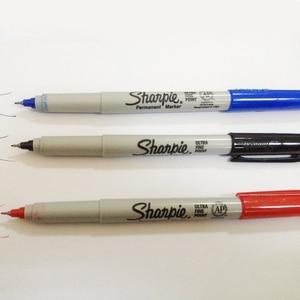 Image 5 - 12pcs American Sharpie 37002 Permanent Marker Ultra Fine Point Oil Waterproof Ink Black Blue White Paint Marker Pen Clean Pen