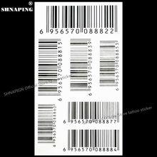 SHNAPIGN Nu Era Matrix Barcode Temporary Tattoo Body Art Flash Tattoo Sticker 17x10cm Waterproof Henna Tatoo Selfie Wall Sticker