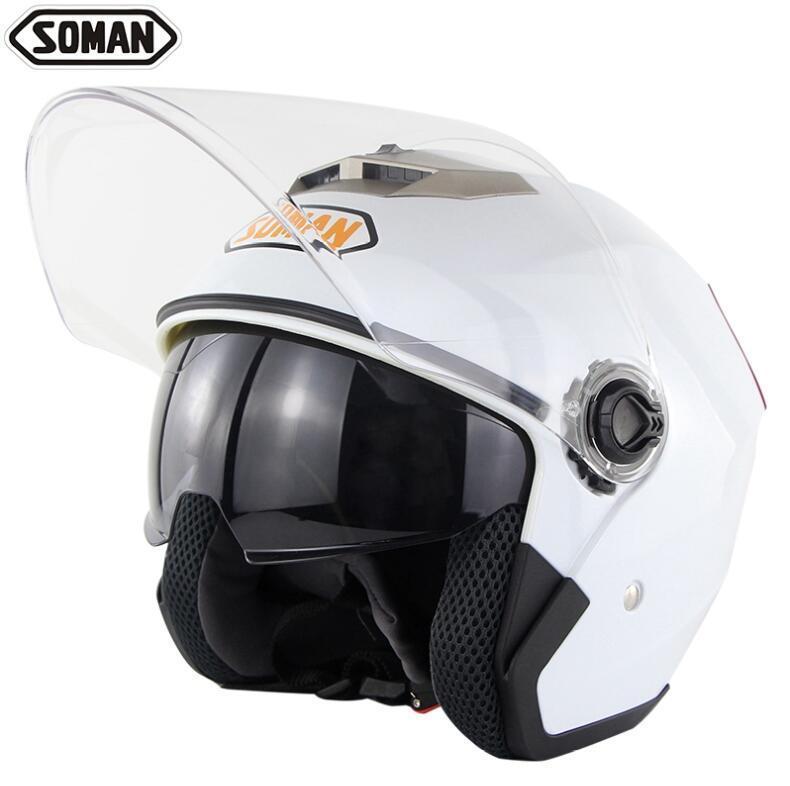 SOMAN 517 мотоцикл электрический автомобиль двойной объектив шлем половина шлем четыре сезона универсальный унисекс - Цвет: 5