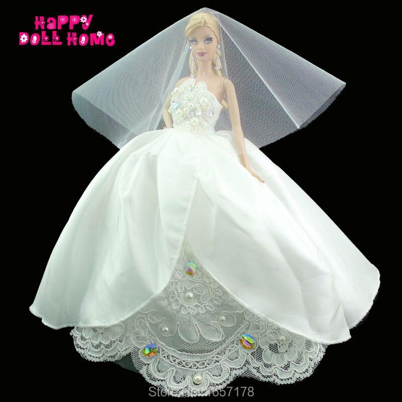 Ручной работы чисто белое свадебное платье с пайетками копия жемчужина Бусины шикарное п ...