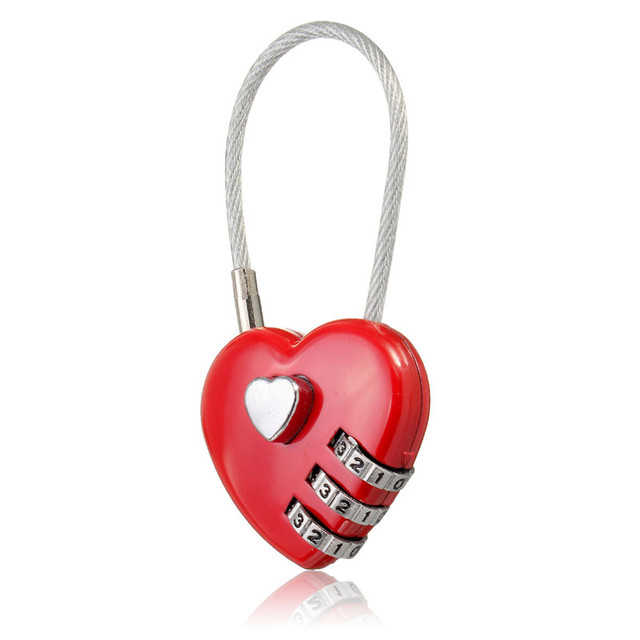 MTGATHER Love Password Lock Wire Rope Lock Travel Bags Three Bit ...